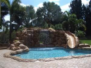 pool waterfalls blue fountain pools rock waterfall slide pools