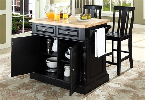 buy butcher block top kitchen island with black x back stools