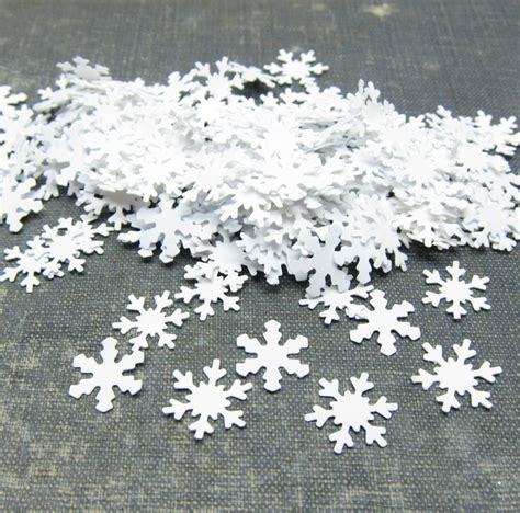 small snowflake confetti white paper punches 200 pieces