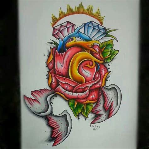 new heart and rose tattoo flash artwork pinterest