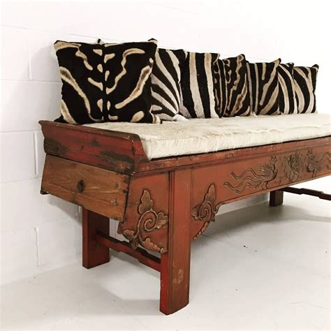 phoenix bench carved phoenix bird bench with ivory cowhide cushion and