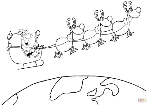 coloring page of santa in his sleigh coloring pages of santa claus and reindeer christmas