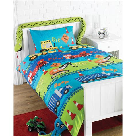boys digger single duvet cover bed set pillowcase new Single Bed Sets For Boys