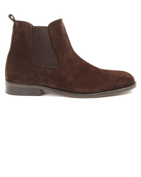 menlook label brown suede chelsea boots in brown for