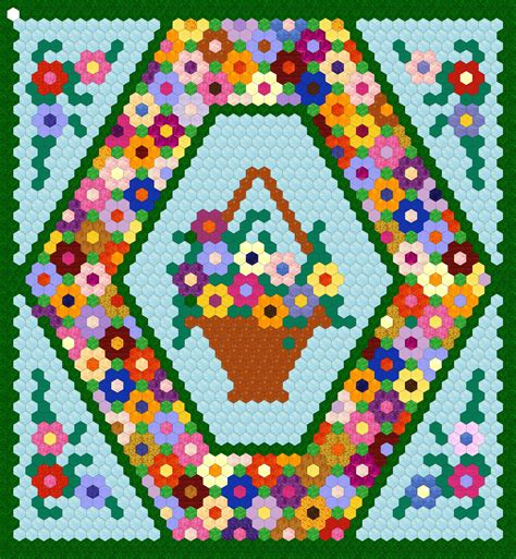 Hexagon Flower Pattern Quilt | 25 inch hexagon wall hanging project hexagon quilting