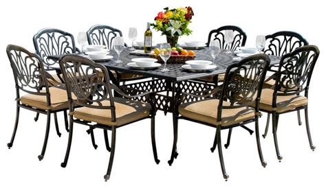 8 Person Patio Table Rosedown 8 Person Cast Aluminum Patio Dining Set With Cast Aluminum Table Traditional