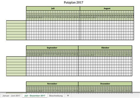 Kalender 2017 Blanko Putzplan F 252 R 2017 Mit Excel Vorlagen Und Pdf Excel