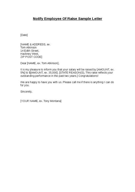 Raise Wage Letter Notify Employee Of Raise Sle Letter Hashdoc
