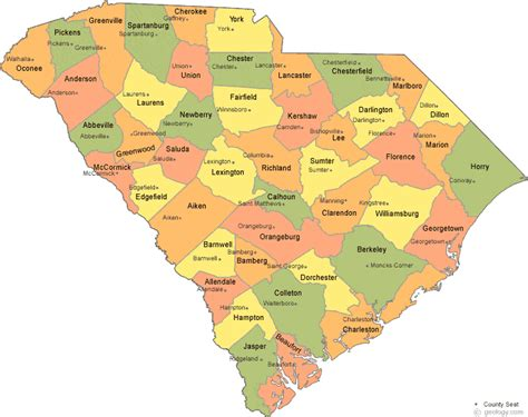carolina counties map south carolina county map