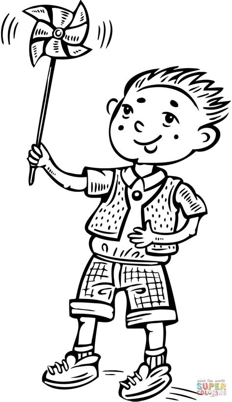 boy playing coloring page boy playing with a toy windmill coloring page free
