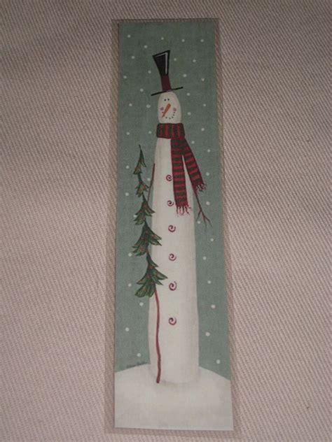 primitive christmas holiday tall skinny snowman laminated book mark ebay
