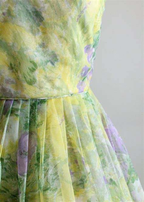 vintage 1960s chartreuse and purple floral dress raleigh