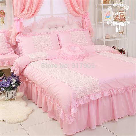 Elegant Pink Queen Comforter Set Designer Brand Egyptian Princess Bedding Set