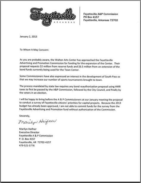 Request Letter To Commissioner Council To A P Ask Residents Before Considering Walton Arts Center Request Fayetteville Flyer
