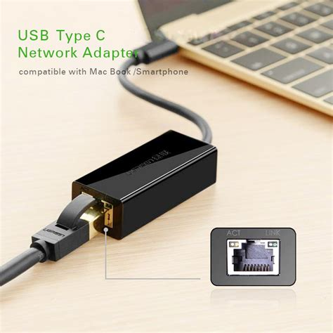 Usb Tipe C To Rj45 Lan Adapter With 3 Port Usb Hub Z9x7 ugreen usb type c to rj45 ethernet lan adapter black