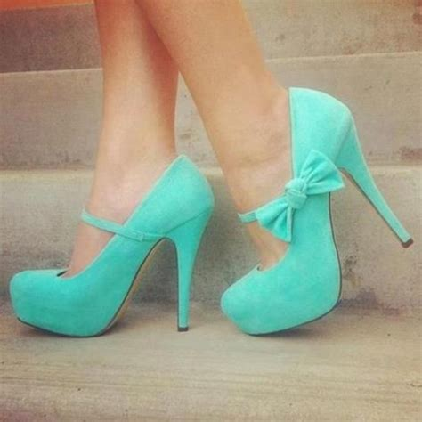 high heels with a bow shoes blue shoes bow tie blue heels heels