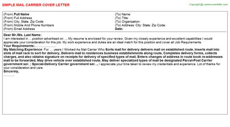 Cover Letter For Postal Carrier by Mail Carrier Cover Letters Sles