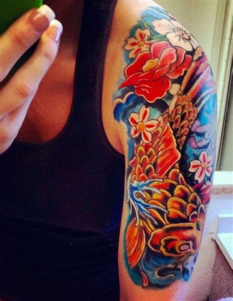 koi fish tattoo half sleeve designs koi fish i want a half sleeve so bad koi fish