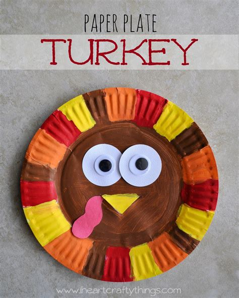 Turkey Papercraft - i crafty things paper plate turkey