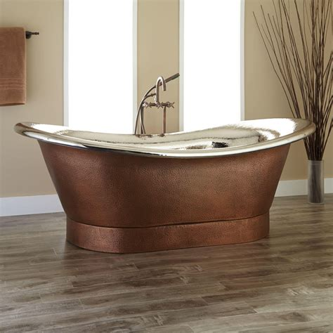 nickel bathtub 78 quot extra wide marcy hammered copper double slipper tub
