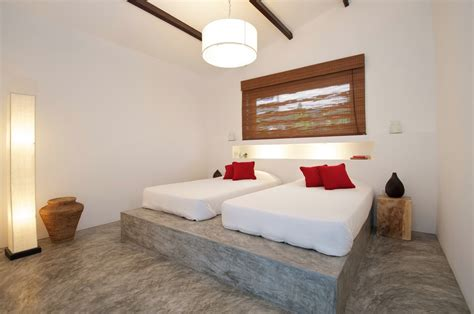 concrete bed tropical beach villa