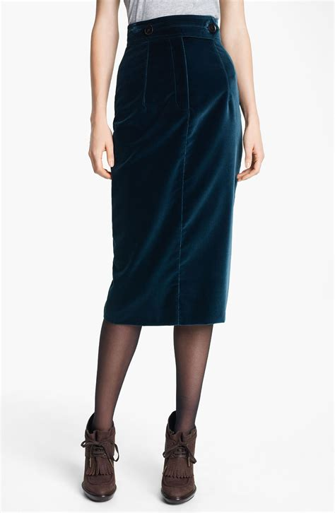 burberry prorsum velvet pencil skirt in blue indigo green