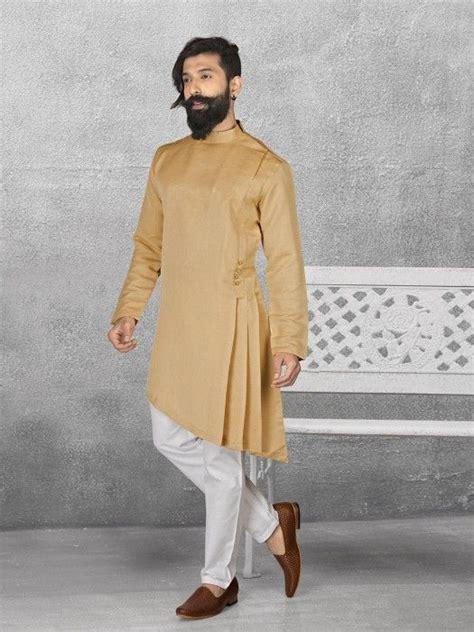 Beige Color Terry Rayon Kurta Suit, mens kurta suits, mens