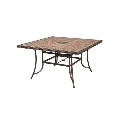 High Patio Table Hton Bay Westbury 60 In Square Tile Top Patio High Dining Table Anq05417k01 The Home Depot