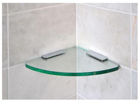 Shower Glass Corner Shelf by Curved Corner Shelf With Brackets