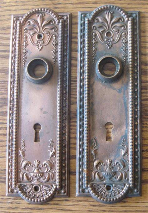 pair 2 solid brass antique vintage door knob plates more