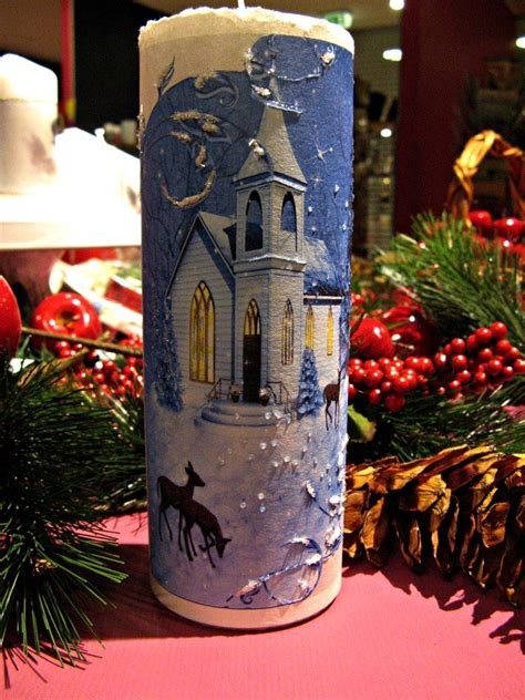 Decoupage Candles - candle decoupage skreytt kerti decorated candles