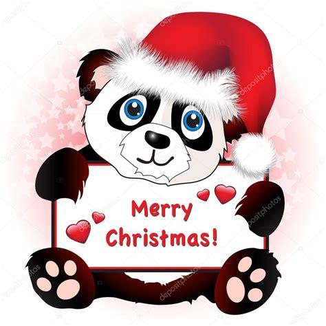 cute christmas panda bear christmas panda with heart banner stock vector 169 rixipix
