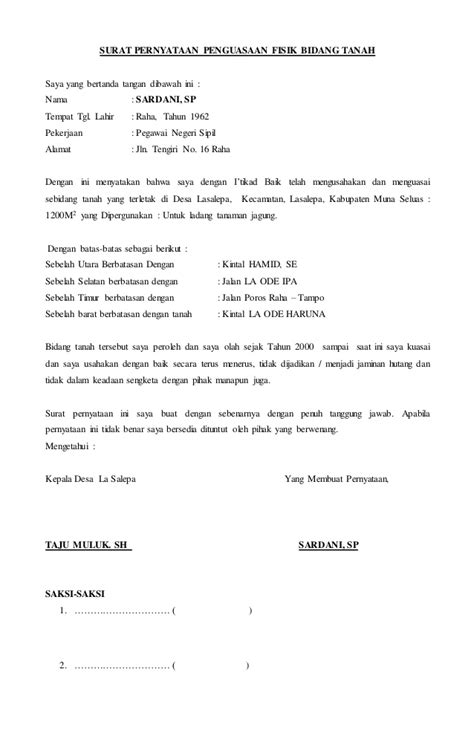 contoh format surat keterangan riwayat tanah contoh surat jual beli tanah tahun 2017