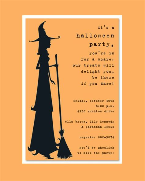 scary silhoutte witch halloween party invitation template