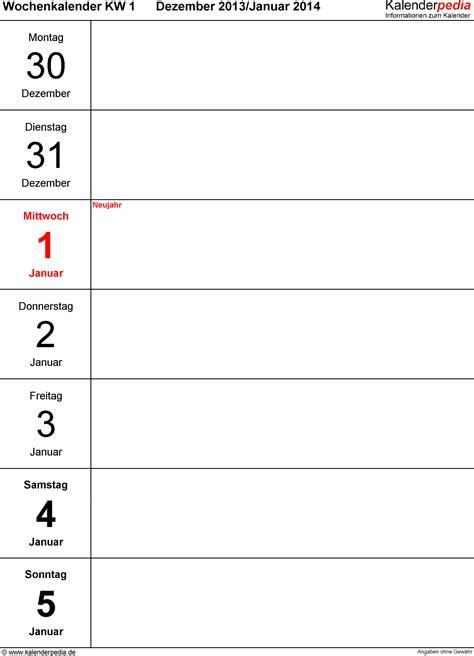 Word Vorlage Notizbuch Wochenkalender 2014 Als Pdf Vorlagen Zum Ausdrucken