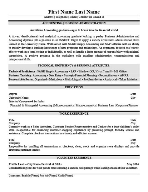 administrative resume sles 2015 accounting business administration resume template