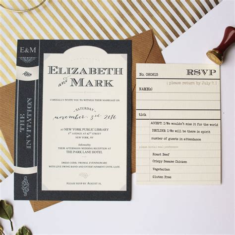 wedding invitations book library book wedding invitation suite by vanilla retro