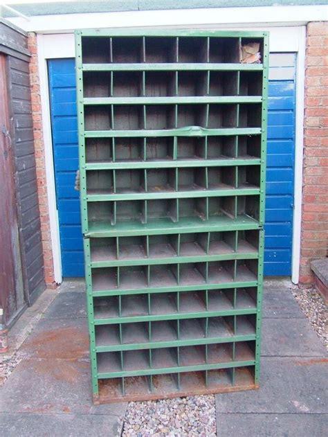 Vintage industrial metal pigeon hole cabinet shop display