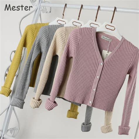 Cardigan Candies V Neck Harga Murah slim v neck knitted cardigan sleeve cropped cardigan sweaters solid shrugs for
