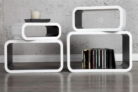 regal retro stylisches regal retro cube 4 tlg weiss schwarz dunord