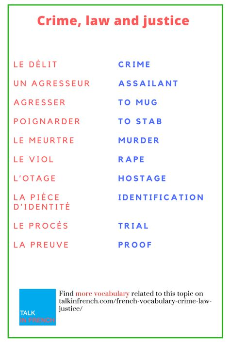 using french vocabulary 0521578515 french vocabulary crime law and justice crime pdf and learning