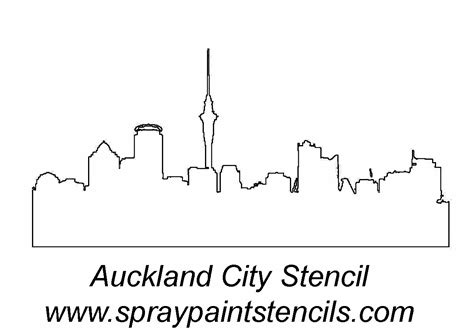 Auckland Skyline Outline by City Skyline Stencils Pictures