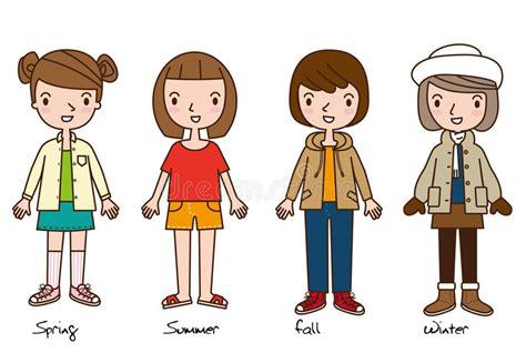whats in seson to waer vier meisjes die het beeldverhaal van vier seizoenenkleren