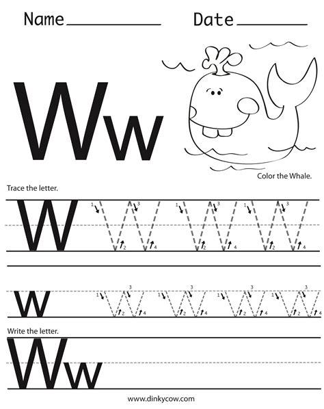 W Worksheets by Free Kindergarten Worksheets Letter W Free Letter