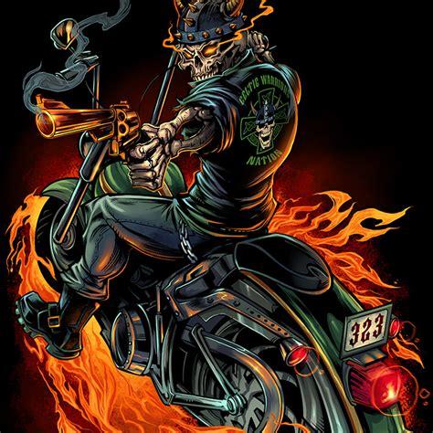 T Shirt 00928 Fly Rider skeleton warrior biker t shirt flyland designs