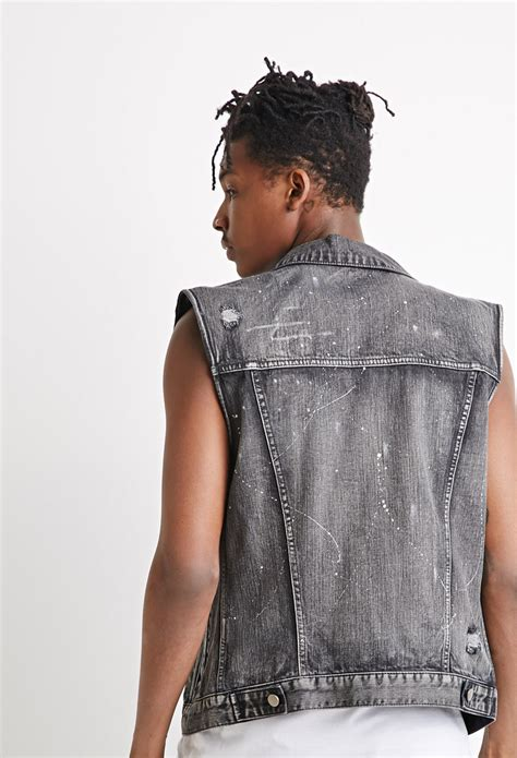 Well Vested Mandy Couture In The City Fashion by Forever 21 Distressed Paint Flecked Denim Vest In Black