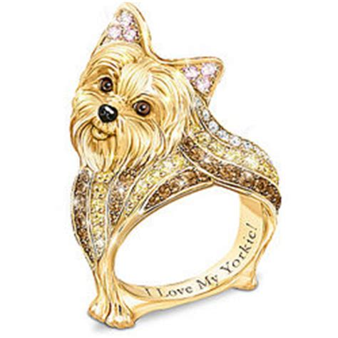 multi colored yorkies yorkie s ring with multi colored crystals findgift
