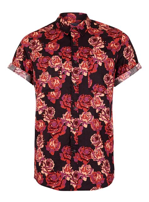 Mine Black Rosey Blouse black burgundy print sleeve from topman things i