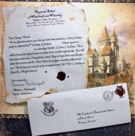 Acceptance Letter For Birthday Hogwarts Quot Acceptance Letter Quot Invitation For Harry Potter Birthday Events