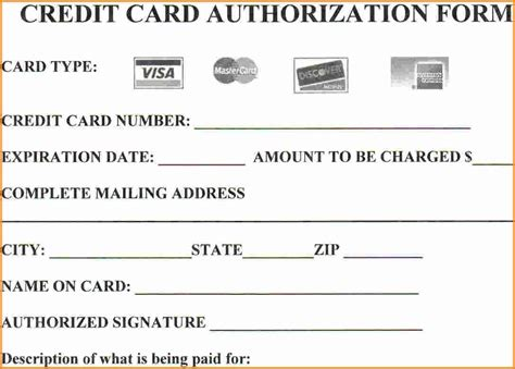 Template For Credit Card Details 15 Credit Card Authorization Form Template Free